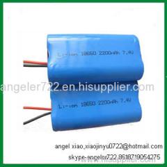 18650 2200mah 2S1P 7.4v Lithium ion battery pack 7.4V 2200mAh