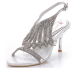Stiletto heel open toe ladies dress sandals with diamonds