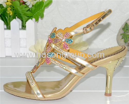 Gold single sole open toe ladies sandals
