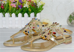 Ladies rhinestone flat strappy sandals