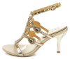 Strappy high heel women sandals gold