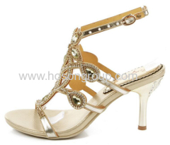 Strappy high heel ladies sandals gold