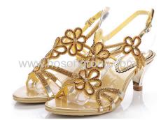 Open toe single sole floral rhinestone ladies sandals