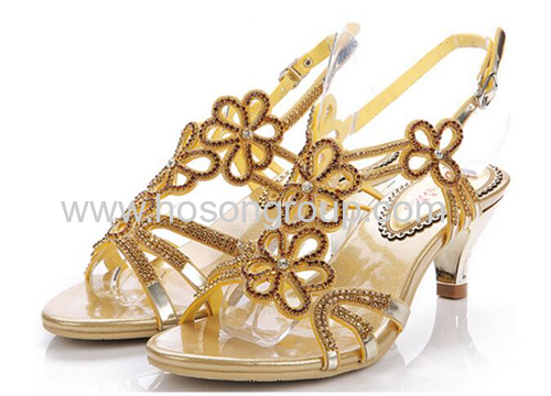 Open toe single sole floral rhinestone ladies sandals