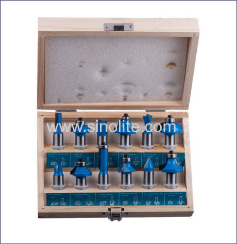 Wood Router Bits 12pcs/set  type D 1/4  and 1/2  Shank