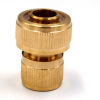 "Brass 3/4"" snap-in garden coupling for connecting hose."