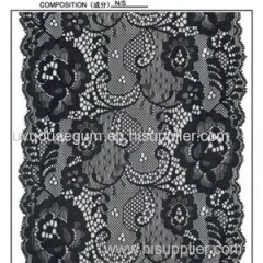 Black flowered Galloon Lace fabric for Wedding Dress