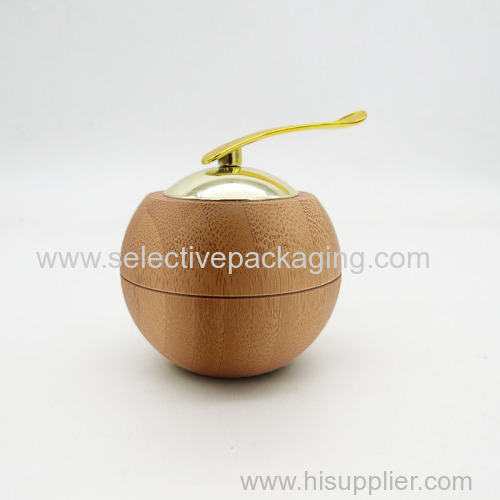 30g bamboo plastic apple jar cream container with spoon
