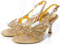 Rhinestone women high heel single sole sandals