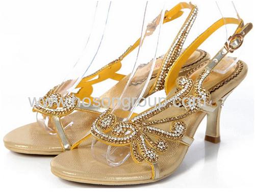 Rhinestone women high heel single sole sandals
