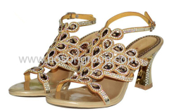 Shiny rhinestone high heel single sole women shoes