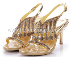 Ladies rhinestone low heel dress sandals