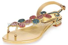Clip on rhinestone flat heel ladies shoes