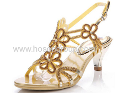Open toe floral rhinestone high heel dress ladies sandals
