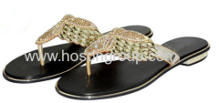 Clip on rhinestone flat ladies slippers