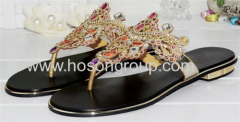 Clip on colorful rhinestone flat heel ladies slippers
