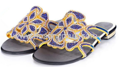 Women fashion flat heel rhinestone slippers
