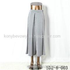 Latest Popular Knit Fashion Elastic Strip Loose Gray Pants