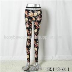 Women Fashion Sexy Woven Peony Printing High-waist Comfortable Leggings