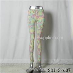 Women Fashion Sexy Woven Camouflage Printing Of Tall Waist Skinny Green Leggings