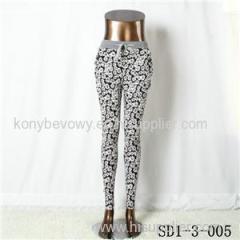 Women Fashion Sexy Woven Chrysanthemum Printing High-waist Slimming Leggings
