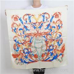 Customize Logo High Quality 100% Silk Scarf Printed Painting Bandana
