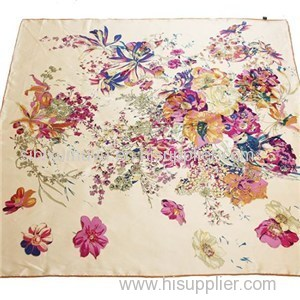 Customize High Quality True Silk Scarves Crepe De Chine Square Scarf