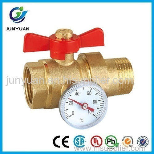 BRASS PIPE UNION BALL VALVE WITH PRESSURE GAUGE