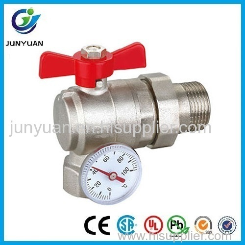 BRASS ANGLE BALL VALVE WITH GAUGE