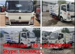 HOWO light duty 4*2 LHD/RHD sweeper vehicle for sale (1.5m2 water tank+4m3 wastes van)