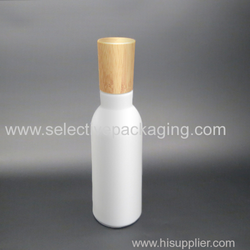 100ml high quality opal glass lotion bottle bamboo lid