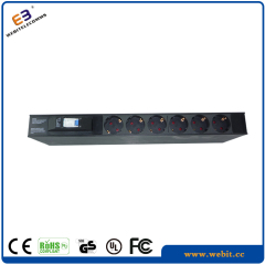 1U aluminum 6 way Germany PDU with circuit breaker