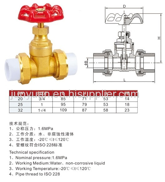Ppr union brass gate valve with gas medium from china