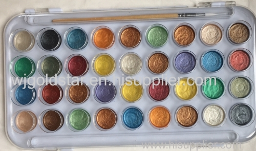 36 Colors Pearlescent Watercolor paint set with wood brush painting