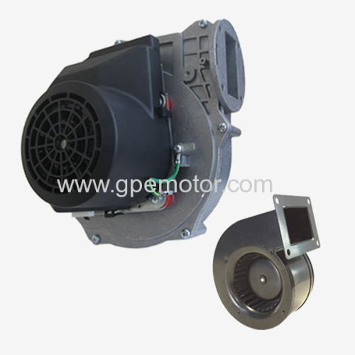 Exhaust air fan for wood pellet heater and chip oven