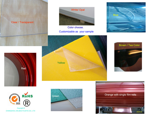 white red green yellow blue clear pet sheets for indoor sign and thermoforiming