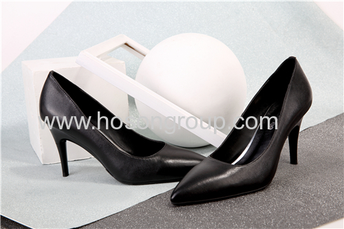 Foldable heel solid ladies pointy toe dress shoes