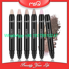 MSQ Eyeshadow Cream Pen Double Ended Cosmetics Eye Shadow Pencil Highlighter Shimmer Makeup Beauty Tool with Sponge Appl