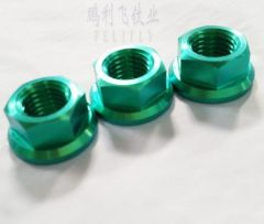 colored titanium GR2 DIN6923 hexagon flange nuts