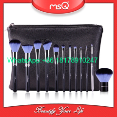 MSQ 12pcs Makeup Brushes Alminium Ferrule Cosmetic Tool High Quality Synthetic Hair With PU Leather Case