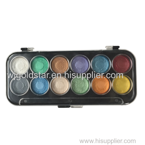 Black Plastic Tray Pearl Watercolor Paint Palette 12 colors