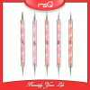 MSQ 5pcs Professional Double-End Nail Art Dotting Gel Pen Acrylic Handle Drawing Painting DIY Beauty Tool