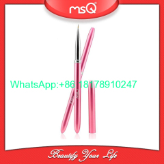 MSQ Brand Professional Single Nail Art Beauty Tool Dotting Pen Drawing Brush Pink Aluminium Handle