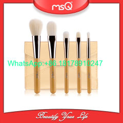 MSQ 5pcs Makeup Brushes Set Synthetic Hair Wood Handle with Unique Design Envelope Style Cosmetic Case