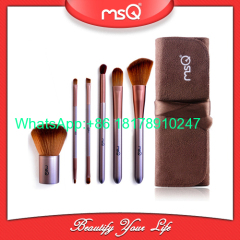 MSQ 6pcs Travel Makeup Brushes Kit Face Care Soft Synthetic Hair Acrylic Handle With Canvas Beauty Case
