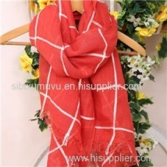 Wholesale Grid Design Woven 100% Linen Scarves