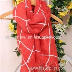 Wholesale Grid Design Woven 100% Linen Scarves