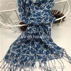 Personalized Flower Design Printed Linen Scarves