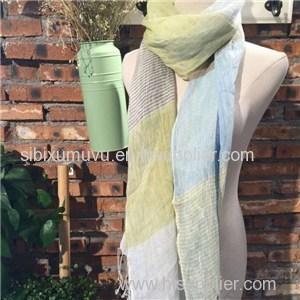 Custom Stripe Design Woven Yarn Dyed 100% Linen Scarves