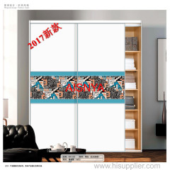 2017 New designs with flowers for ureau and wardrobe sliding door